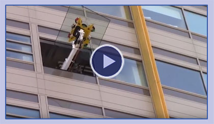 High Rise Glass Installation Using The Brandon Glass Lifter.